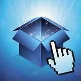 Vector blue box with hand cursor Stock Image