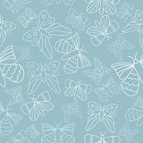 Vector blue butterflies seamless pattern background. stock illustration