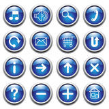 Vector blue buttons with symbols. Royalty Free Stock Image