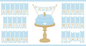 Vector blue cake on wooden table. Set of printable letters cupcake bunting. Mini flags can use for decoration prince party. Flags can use for decoration prince Royalty Free Stock Photo