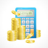 Vector Blue Calculator and stacks of golden coins. Vector illustration of Blue Calculator and stacks of golden coins. The concept of effective management of Royalty Free Stock Photos