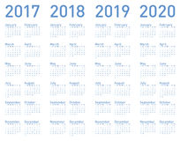 Vector Blue Calendar for years 2017, 2018, 2019 and 2020 Royalty Free Stock Images