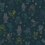 Vector blue cartoon animals seamless repeat pattern stock illustration