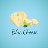 Vector blue cheese. Blue molds on sliced cheese. Stock Photo