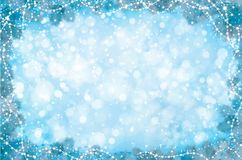 Vector blue Christmas background. Vector blue  background with fir tree border and decorations Stock Photo