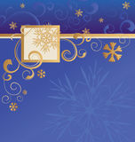 Vector blue christmas background with golden snowflakes and bord Royalty Free Stock Image