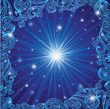 Vector blue Christmas background with stars Royalty Free Stock Photography