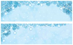 Vector blue Christmas  background. Vector blue  background with fir tree border and decorations Royalty Free Stock Photo