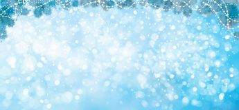 Vector blue Christmas  background. Vector blue lights, stars  background with fir tree border and decorations Royalty Free Stock Photo