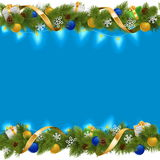 Vector Blue Christmas Border with Garland Stock Images