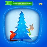 Vector blue christmas card Stock Images
