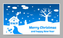 Vector blue christmas card Royalty Free Stock Photography