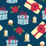 Vector blue Christmas gifts boxes and candles seamless repeat pattern background. Can be used for holiday giftwrap. Fabric, wallpaper, stationery, packaging Stock Image