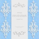 Vector Blue Christmas Vintage Invitation Card Stock Image