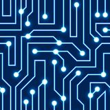 Vector blue circuit board background. Vector glowing blue circuit board background. Electrical scheme seamless pattern. Vector illustration Blue abstract Royalty Free Stock Photography