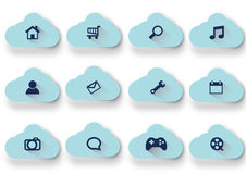 Vector Blue Clouds icons set Stock Image
