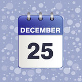 Vector  in blue color. Illustration of Christmas calendar icon. Vector in blues tones with snowflakes on a blue winter sky. The template can be used for any Royalty Free Stock Images