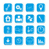 Vector blue color web site icons Stock Photography