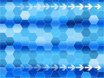 Vector Blue communications background. With arrows and Hexagon Stock Photography
