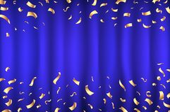 Vector blue Curtain gold Confetti Greeting Card, background with Free Space. Luxury, Glamour Design with Shine Sparkles art. Vector blue Curtain gold Confetti Stock Photography