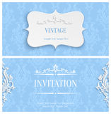 Vector Blue 3d Vintage Invitation Card with Floral Damask Pattern. Vector Blue Vintage Background with 3d Floral Damask Pattern for Greeting or Invitation Card Stock Photo
