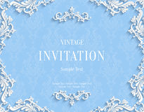 Vector Blue 3d Vintage Invitation Card with Floral Damask Pattern. Vector Blue Vintage Background with 3d Floral Damask Pattern Template for Greeting or Stock Photo