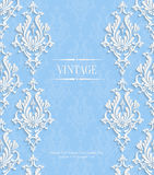 Vector Blue 3d Vintage Invitation Card with Floral Damask Pattern. Vector Blue Vintage Background with 3d Floral Damask Pattern Template for Wedding or Stock Photo