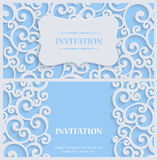 Vector Blue 3d Vintage Invitation Card with Floral Damask Pattern. 3d Swirl Background with Floral Damask Curl Pattern for Greeting or Invitation Card Design in Royalty Free Stock Photo