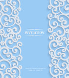 Vector Blue 3d Vintage Invitation Card with Floral Damask Pattern Stock Images