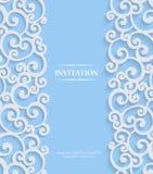 Vector Blue 3d Vintage Invitation Card with Floral Damask Pattern Stock Images