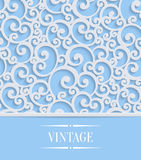 Vector Blue 3d Vintage Invitation Card with Floral Swirl Pattern Stock Photos