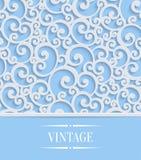 Vector Blue 3d Vintage Invitation Card with Floral Swirl Pattern. 3d Floral Blue Wedding or Invitation Card with Curl Pattern. Vector Swirl Design stock illustration