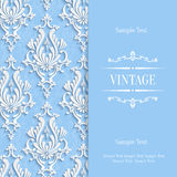 Vector Blue 3d Vintage Invitation Card Template with Floral Damask Pattern. Vector Blue Vintage Background with 3d Floral Damask Pattern Template Royalty Free Stock Photos