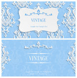 Vector Blue 3d Vintage Invitation Template with Floral Damask Pattern Stock Photography