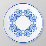 Vector blue decorative plate. Stock Photo