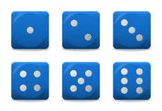 Vector blue dices. Vector blue playing dices with silver dots stock illustration