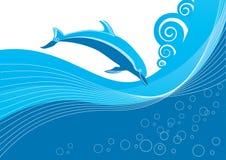 Vector blue dolphin stock photography