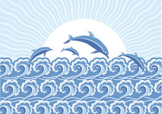 Vector blue dolphins jumping in sea in sun day Royalty Free Stock Images