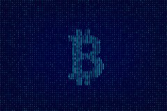 Vector blue dual code background with bitcoin sign. Vector blue dual code background with bitcoin sign Royalty Free Stock Photos