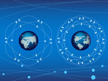 Vector of blue earth with satellite Royalty Free Stock Photo