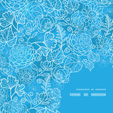 Vector blue field floral texture frame corner Royalty Free Stock Images