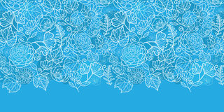 Vector blue field floral texture horizontal border Royalty Free Stock Image