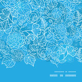 Vector blue field floral texture horizontal frame Stock Photos