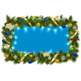 Vector Blue Fir Frame with Garland. On white background Stock Image