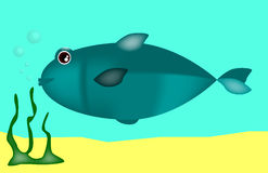 Vector blue fish in the sea Stock Image