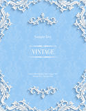 Vector Blue Floral 3d Background. Template for Christmas Invitation Cards Royalty Free Stock Photos