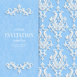 Vector Blue Floral 3d Christmas Invitation Background Template Stock Photography