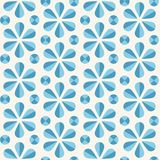 Vector blue floral seamless pattern, origami style. Vector abstract seamless pattern with blue origami flowers and dots, 60s vintage retro style Stock Photo