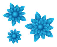 Vector blue flowers. Vector blue beautiful flowers with light gradients and shadows Stock Photo