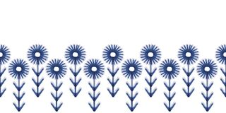 Vector blue flowers leaves folk seamless pattern border